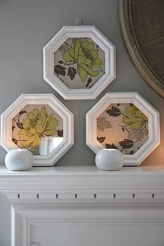 Love these octagon frames - I will look for some. Frame in a pretty fabric or scrap book paper.  Also like the way they are displayed on the mantel.
