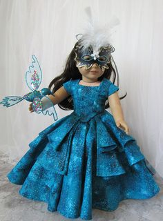 Turquoise Masquerade Bella Rose Ball Gown for American Girl Dolls by HannahReeseDD Sewing Doll Clothes, American Doll Clothes, Girl Doll Clothes, Doll Clothes Patterns, Clothing Patterns, Girl Dolls, Ag Dolls, Doll Patterns, Barbie Clothes
