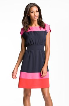 Eliza J Colorblock Crêpe de Chine Fit & Flare Dress | Nordstrom