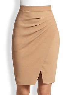 L'Agence – Asymmetrical Draped-Pleat Wrap-Effect Skirt - Outfits African Fashion Skirts, Fashion Dresses, Classy Outfits, Stylish Outfits, Pencil Skirt Outfits, Dress Skirt, Clothes For Women, Draped Skirt, Clothing