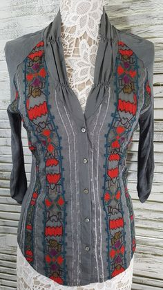 Anthropologie TINY Gray Embroidered  Button Up Shirt Top Sz XS Semi Sheer    Clothing, Shoes & Accessories, Women's Clothing, Tops & Blouses   eBay!