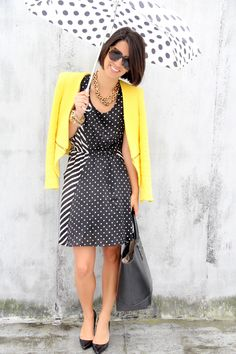 love the dress! polka dots and stripes.