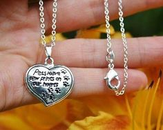 Charm Necklace - .925 Sterling Silver Chain - Pets Leave Paw Prints on our Hearts Pendant - Pet Dog Cat Loss Memorial Gift