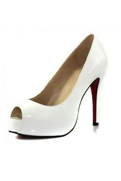 Pumps Shoes Very Prive Patent Peep Toe White [CLS374] - PersunMall.com