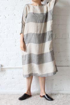 Ichi Antiquites Border Linen Dolman Dress Charcoal