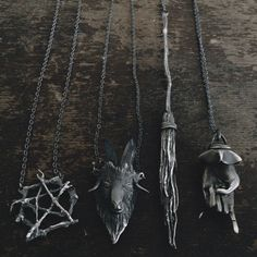 Strega's Forest. Wizards Broom and David's Five Point Star rustic pendant necklace