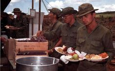 "From the source: ""Members of Co D, Engr Bn (Cbt), are served Thanksgiving dinner at the base camp. Vietnam History, Vietnam War Photos, Military Photos, Military History, American War, American History, Military Records, My War, North Vietnam"