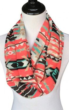 Coral aztec print scarf