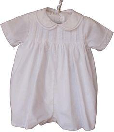 Infant Boys White Christening Romper & Hat - Petit Ami