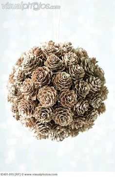 """DIY Craft - pinecone """"kissing ball"""" - use styrofoam ball, glue on cones, frost with spray """"snow"""", insert hanger Noel Christmas, All Things Christmas, Winter Christmas, Christmas Ornaments, Christmas Wedding, Pinecone Christmas Crafts, Diy Ornaments, Christmas Fashion, Ball Ornaments"""