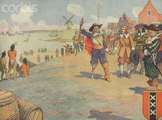 Book Illustration of Dutch Settlers Arriving in New York by E. Boyd Smith - 1920.