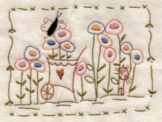 Butterfly in the Garden stitchery design by Barb Smith www.theodoracleave.com