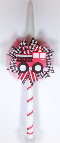 Items similar to Fire Truck - Greek Easter Candle (Lambatha) on Etsy Easter Candle, Orthodox Easter, Greek Easter, Girl Christening, White Candles, Oil Bottle, Fire Trucks, 4th Of July Wreath, Symbols