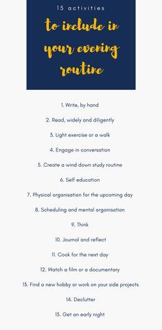 15 activities to implement into your evening routine