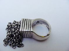 Vintage modernist sterling silver oversized ring, believed to be designed by Eivind Hillestad (NO). #norway | finlandjewelry.com