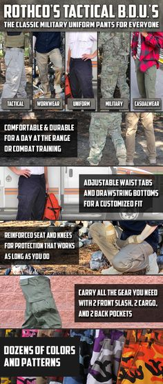 BDU Pants are the classic military uniform pant that's designed for everyone. #Rothco