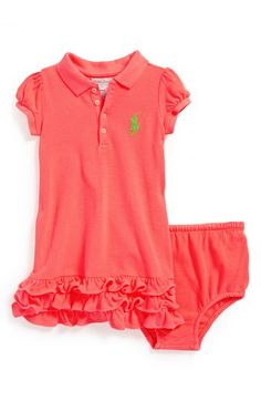 Ralph Lauren Neon Cotton Mesh Polo Dress & Bloomers (Baby Girls) available at #Nordstrom