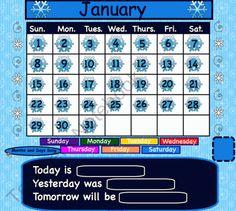 January Interactive Calendar product from 1-2-3-Interactive-Classro on TeachersNotebook.com Promethean Board, Teacher Notebook, High Frequency Words, Classroom Organization, Classroom Ideas, Winter Activities, First Grade, Special Education, January