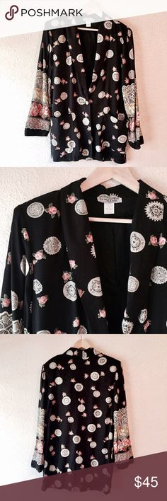 Mandala and roses black vintage Blazer I'm so in love with this piece! Gorgeous black blazer with white mandalas and pink / red roses. Vintage jacket that is one-of-a-kind! Kensington Square brand, made in the USA. Longer length with buttons and pockets on the front. Lace print detailing on the sleeves. There are shoulder pads that can easily be removed. Size medium, true to size. Excellent vintage condition. Vintage Jackets & Coats Blazers