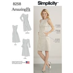 Simplicity Amazing Fit patterns include special tips and techniques to help you get a truly amazing fit. Dress sized for Misses and Plus sizes features separate pattern pieces for B, C, D, and DD cup sizes, as well as cutting lines for petite sizing. Design includes center front seam, fit and flare shape and three sleeve options. So much fit and versatility in one pattern.