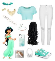 """""""The New Jasmin"""" by romymaydar ❤ liked on Polyvore featuring Disney, Lord & Taylor, WithChic, Converse, GUESS, Monica Vinader, Casetify, River Island and Boohoo"""
