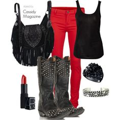 """""""Black and Red"""" by cassidymagazine on Polyvore cowgirl fashion"""