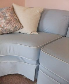 Very good info for making a slip cover Sectional sofa slipcover, corner piece, by Karen Powell.