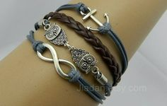 Owl Bangle, Anchor Bracelets, Infinity Bracelet, Fashion Charm Jewelry, Hand-woven, Delicate Bracele from Picsity.com
