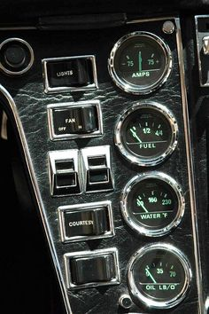 The dashboard of a De Tomaso Pantera, my favorite car growing up