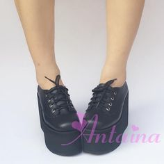 Harajuku Style Full Leather Lace-up High Platform Lolita Shoes