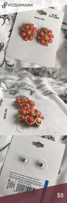 Statement Earrings Brand new, never worn earrings! Perfect for summer. Orange and pink with gold accents! Accessories