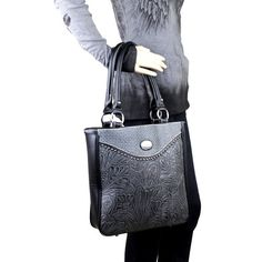 Trinity Ranch Western Concealed Carry Purse with Floral Tooling