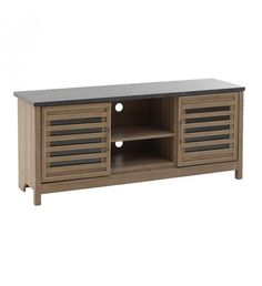WOODEN TV STAND W_2CABBINETS_SHELVES IN LIGHT BROWN 150X40X63