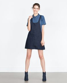 "Image 1 of ""ESSENTIALS"" DENIM PINAFORE DRESS from Zara"