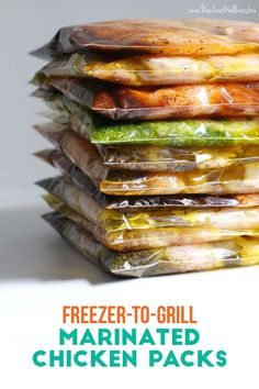 10 Freezer to Grill Marinated Chicken Packs in 20 Minutes. Chicken breasts were Buy One Get One Free at the grocery store, so I bought 10 pounds, marinated it, and froze it for the grill. Now we're stocked for the summer! Slow Cooker Freezer Meals, Make Ahead Freezer Meals, Freezer Cooking, Easy Meals, Individual Freezer Meals, Easy Cooking, Grilling Recipes, Crockpot Recipes, Cooking Recipes
