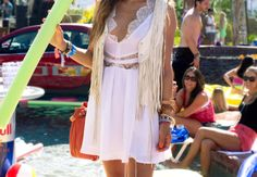 White summer dress and fringe vest