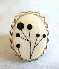 Pod Tree on Pearl White - Polymer Clay Ring   review   Kaboodle