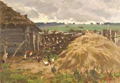 Gennady  Korolev - Hay Stacks - Oil on Panel - 1969