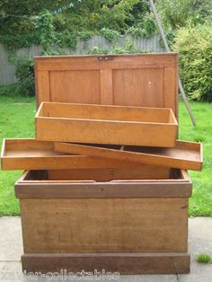 Huge Old Antique Vintage Wood Iron Carpenter Wooden Tool Chest Box Cabinet Trunk