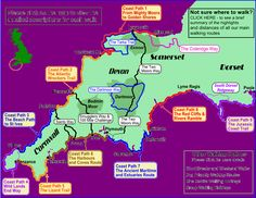 Our Walking Routes Map - Walking Holidays in England and Walking Short Breaks on The South West Coast Path, Two Moors Way and the Saints Way