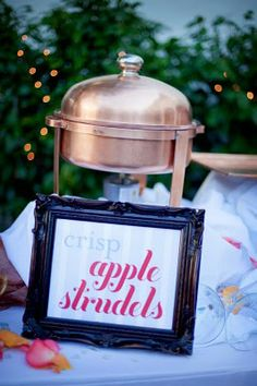 raindrops on roses (themed wedding) crisp apple strudel dessert