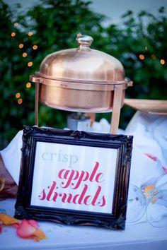 raindrops on roses (themed wedding) crisp apple strudel dessert