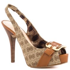 GUESS 'Izaihas' Brown Guess Logo-Printed Fabric Slingback Peep-toe Platform Pump with a lavish cognac strap across the vamp featuring a large 'G' Buckle