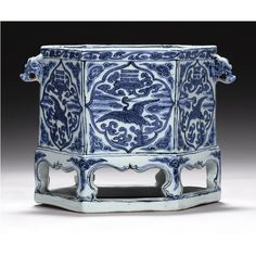 A rare blue and white hexagonal incense burner, Wanli mark and period (1573-1620)