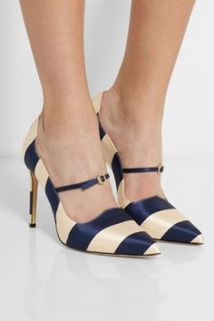 Bionda Castana | Renee striped satin pumps | NET-A-PORTER.COM