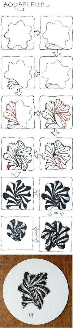 U Aquafleur, Official Zentangle pattern. Tangle Doodle, Tangle Art, Zen Doodle, Doodle Art, Zentangle Drawings, Doodles Zentangles, Doodle Drawings, Doodle Designs, Doodle Patterns