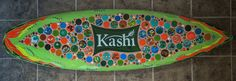Kashi glass surfboard made in a Team Building Event with Kashi employees with professional glass artist Cherrie LaPorte. www.cherrielaporte.com