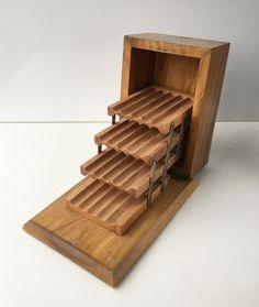 Vintage Wood Cigarette Dispenser Box Four Level