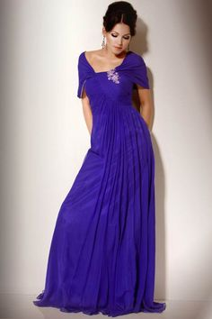 Flowy Chiffon Evening Gown With Jewel Brooch, Style 158752  Jovani
