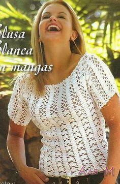 Entre um Fio e Outro: Blusa em Crochê, crochet shirt or top. bella con modello e schema